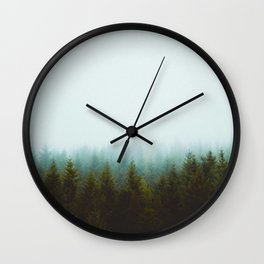 Landscape Pine Forest Green Evergreen Trees Minimalist Simple Landscape Wall Clock