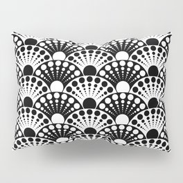 black and white art deco inspired fan pattern Pillow Sham