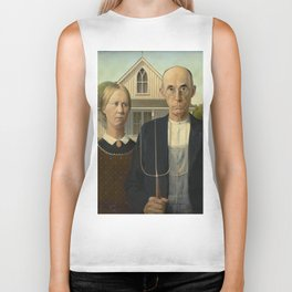 American Gothic Oil Painting by Grant Wood Biker Tank
