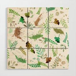 Green Leaves, Paint Splatter, Pattern Wood Wall Art