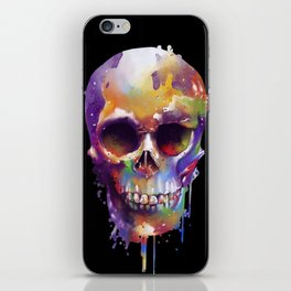 colorful skull black iPhone Skin