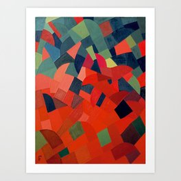 Grün-Rot Otto Freundlich 1939 Abstract Art Mid Century Modern Geometric Colorful Shapes Hard Edge Art Print