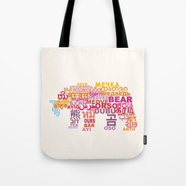 Bear in Different Languages Tote Bag