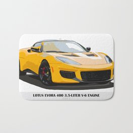 Yellow fast car Bath Mat