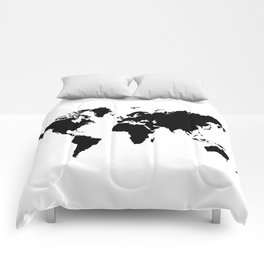 Black and White world map Comforters