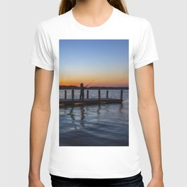 Man Fishing at Sunset T-shirt