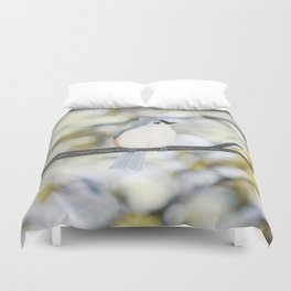 tufted titmouse - bokeh Duvet Cover
