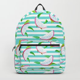Dragonfruits and turquoise stripes Backpack
