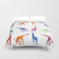 giraffes Duvet Covers featuring Giraffes by emegi