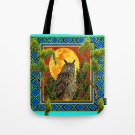WILDERNESS OWL WITH FULL MOON & TREES TURQUOISE Tote Bag