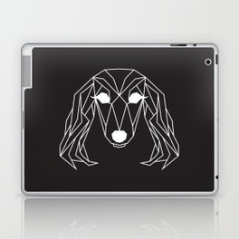 raya goods : lexie the dachshund, white on black Laptop & iPad Skin