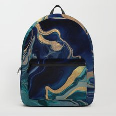 DRAMAQUEEN - GOLD INDIGO MARBLE Backpacks