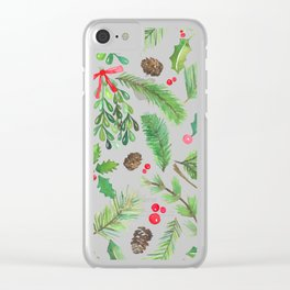 Lovely Christmas Greenery Clear iPhone Case