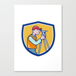 Surveyor Geodetic Engineer Theodolite Shield Cartoon Canvas Print