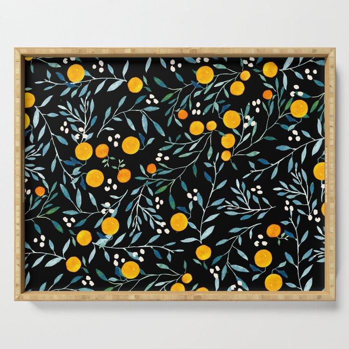 Oranges Black Serving Tray