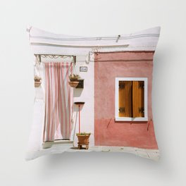 Sunny pink house Throw Pillow