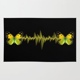Pulse - Yellow butterflies sound waves Rug