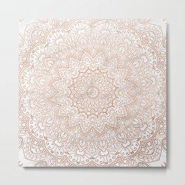 Mandala - rose gold and white marble 3 Metal Print