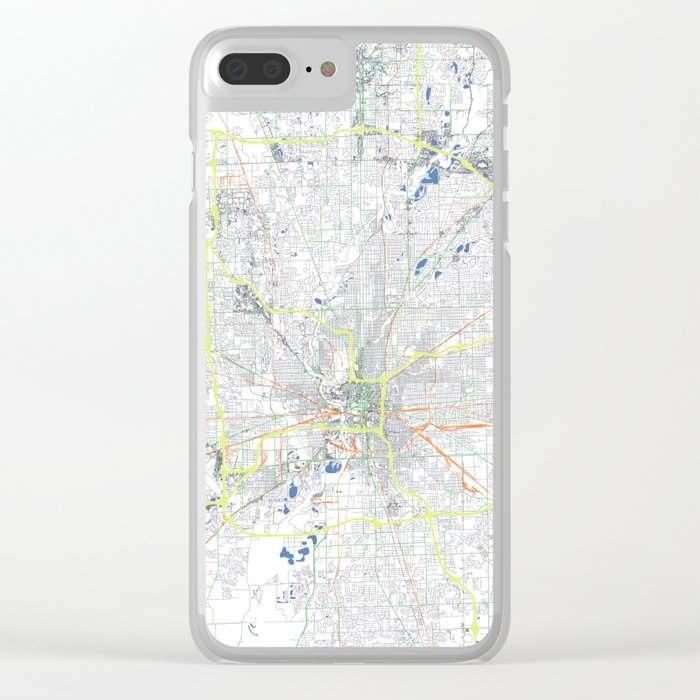 Indianapolis' POP urban map Clear iPhone Case