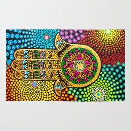 Hamsa Hand, hand of fatima, mandala, yoga art, mandala art, meditation art Rug
