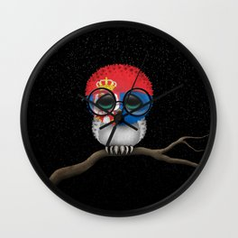 Baby Owl with Glasses and Serbian Flag Wall Clock