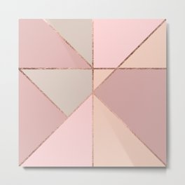 Modern rose gold peach blush pink color block Metal Print