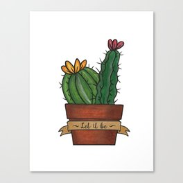 Let it Be Cactus Print in Simple Line Art Style  Canvas Print