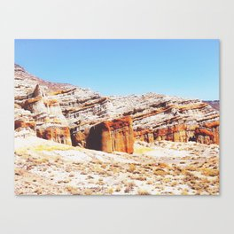 sand desert with orange mountain in California, USA with summer blue sky Canvas Print