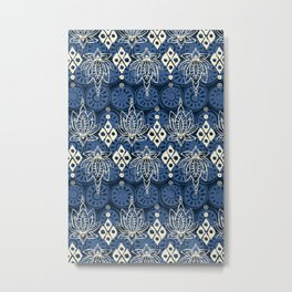 lotus diamond indigo Metal Print