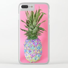 Tropical Painted Pineapple Clear iPhone Case
