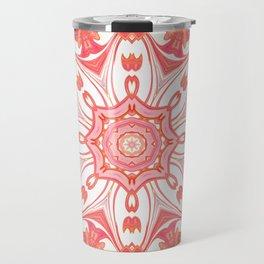 Romantic Peach Mandala Design Travel Mug