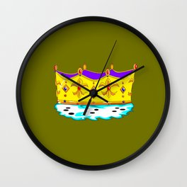 A Royal Crown with a Green Background Wall Clock