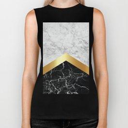Arrows - White Marble, Gold & Black Granite #147 Biker Tank