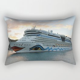 AIDAluna Cruise Ship in Road Town on Tortola Rectangular Pillow