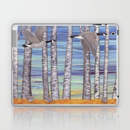 Canada geese, hedgehogs, and autumn birch trees Laptop & iPad Skin