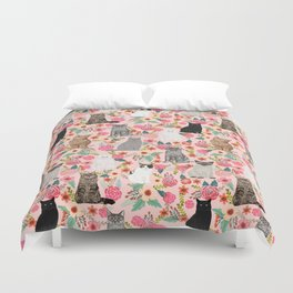 Cat floral mixed breeds of cats gifts for pet lovers cat ladies florals Duvet Cover