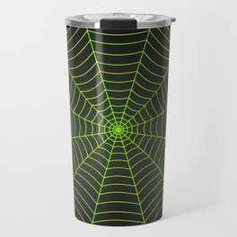 Neon green spider web Travel Mug