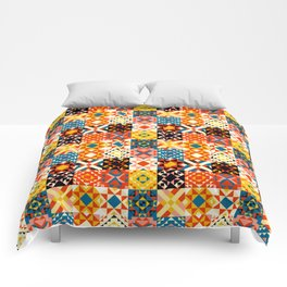 Maroccan tiles pattern with red an blue no2 Comforters