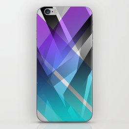 Transparent Abstract Geometric Shapes Purple and Teal iPhone Skin