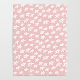Stars on pink background Poster