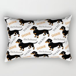 Black Tan Smooth Dachshund Rectangular Pillow