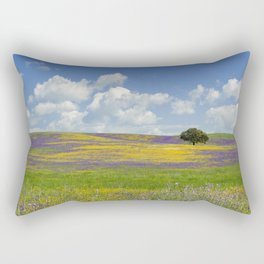 a solitary cork tree on the Alentejo plain, Portugal Rectangular Pillow