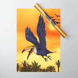 Funny cute flying toucan in the sunset Wrapping Paper