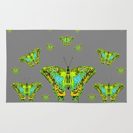 BLUE-GREEN-YELLOW PATTERNED MOTHS ON GREY Rug