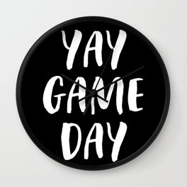 Yay Game Day Football Sports Team White Text Wall Clock