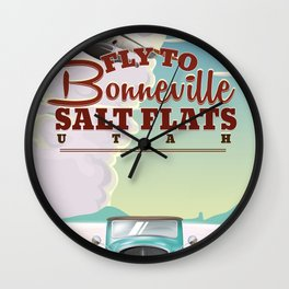 Bonneville Salt Flat Utah vintage travel poster Wall Clock