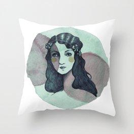 Vintage Girl Throw Pillow