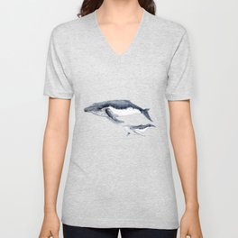 Humpback whale with calf Unisex V-Neck