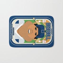 Baseball Blue Pinstripes - Rhubarb Pitchbatter - Seba version Bath Mat