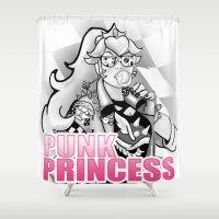 princess peach Shower Curtains featuring Punk Peach bnw by rnlaing